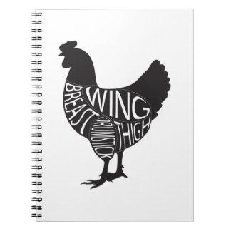 Vintage & Funny Chicken Design Spiral Note Books