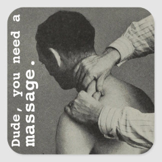 Vintage Funny Customizable Massage Square Sticker