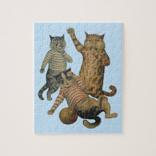Vintage funny football playing cats jigsaw puzzle