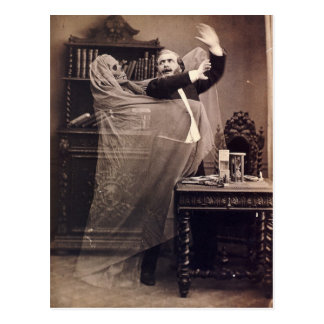 Vintage Funny Spooky Victorian Ghost Portrait Postcard