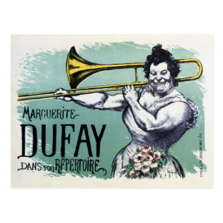 Vintage funny strong woman playing the trombone postcard