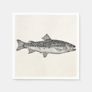 Vintage Gar Fish - Aquatic Fishes Template Blank Paper Napkin