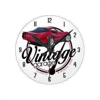 Vintage Garage Corvette Red Round Clock
