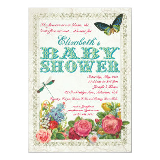 Vintage Garden Baby Shower Invitation