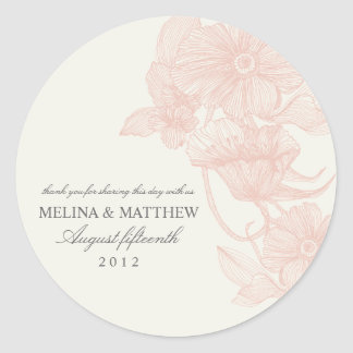 VINTAGE GARDEN | FAVOR LABELS ROUND STICKER