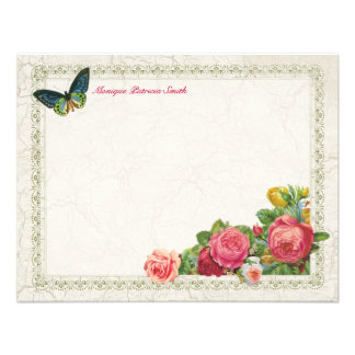 Vintage Garden Floral Personalized Flat Note Cards