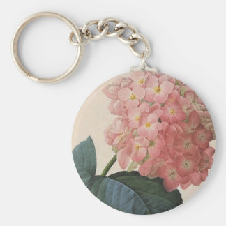 Vintage Garden Flowers, Pink Hydrangea Hortensia Basic Round Button Key Ring