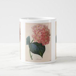 Vintage Garden Flowers, Pink Hydrangea Hortensia Large Coffee Mug
