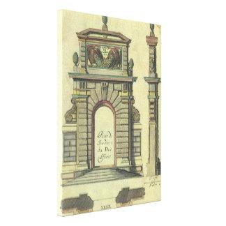 Vintage Garden Gate Arch, Renaissance Architecture Stretched Canvas Print