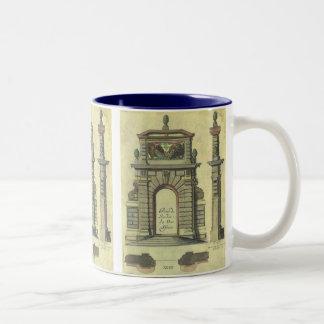 Vintage Garden Gate Arch, Renaissance Architecture Two-Tone Mug