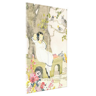 Vintage Garden Girl Double Stretched Canvas Print