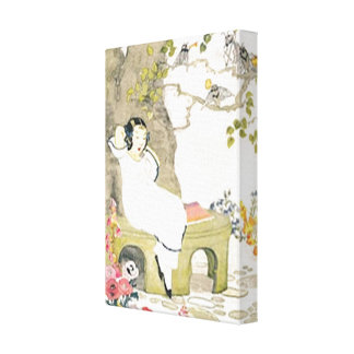 Vintage Garden Girl Small Stretched Canvas Print