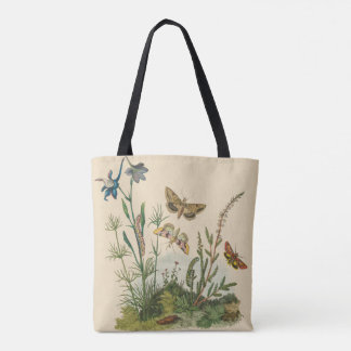 Vintage Garden Insects, Butterflies, Caterpillars Tote Bag