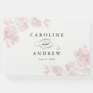 Vintage garden rose wedding guest book