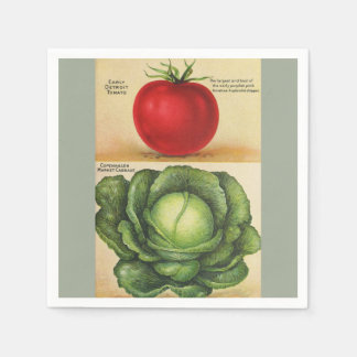 Vintage garden vegetable art, 1913 disposable serviette