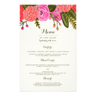 Vintage Garden Wedding Dinner Menu