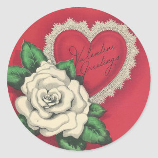 Vintage Gardenia Valentine Classic Round Sticker