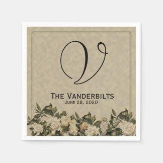 Vintage Gardenia Wedding Napkins Paper Serviettes