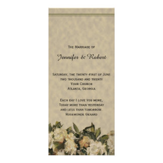 Vintage Gardenia Wedding Program Rack Card