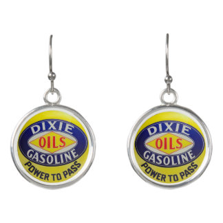 Vintage Gas Pump Dixie Oils Gasoline Hot Rod Era Earrings