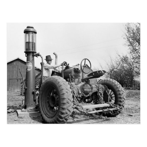 Vintage Gas Pump on the Farm, 1940s Postcard