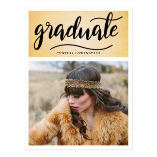 Vintage   Gatsby Graduate Typography Photo Postcard