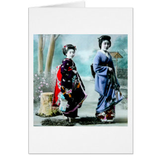 Vintage Geisha and Her Maiko 芸者 舞妓 Old Japan Card