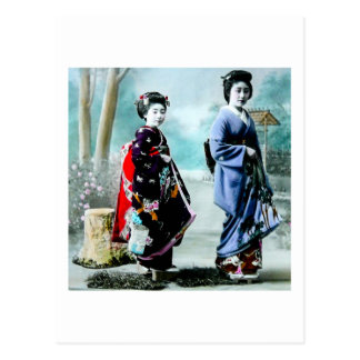 Vintage Geisha and Her Maiko 芸者 舞妓 Old Japan Postcard