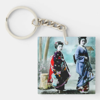 Vintage Geisha and Her Maiko 芸者 舞妓 Old Japan Single-Sided Square Acrylic Key Ring