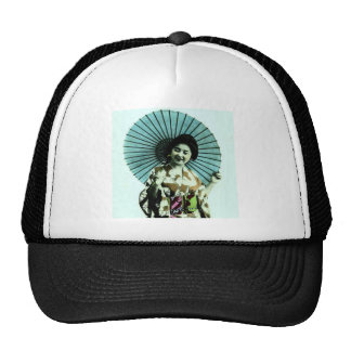 Vintage Geisha and Her Parasol Old Japan Cap