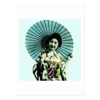 Vintage Geisha and Her Parasol Old Japan Postcard