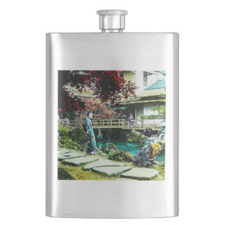 Vintage Geisha at the Kusatsu Tea House Maple Tree Hip Flask