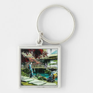 Vintage Geisha at the Kusatsu Tea House Maple Tree Silver-Colored Square Key Ring