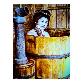Vintage Geisha Bathing in a Wooden Tub Postcard