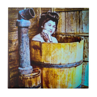 Vintage Geisha Bathing in Wooden Tub in Old Japan Ceramic Tile
