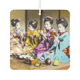 Vintage Geisha Checking Their Makeup at Tea Japan Car Air Freshener