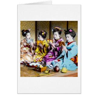 Vintage Geisha Checking Their Makeup at Tea Japan Card