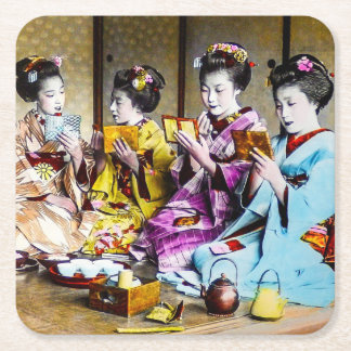 Vintage Geisha Checking Their Makeup at Tea Japan Square Paper Coaster