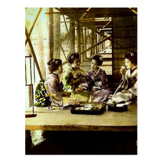 Vintage Geisha Dining Together in Old Japan Dinner Postcard