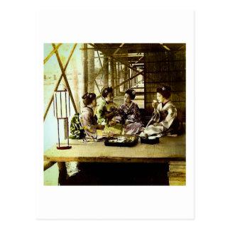 Vintage Geisha Dining Together in Old Japan Dinner Postcard