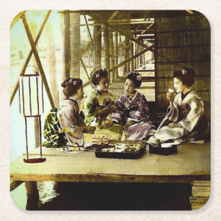 Vintage Geisha Dining Together in Old Japan Dinner Square Paper Coaster