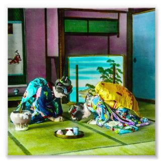 Vintage Geisha Greetings Over Tea Old Japan Photo Print