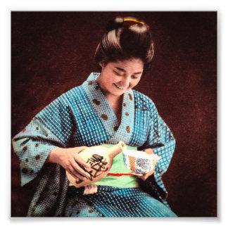 Vintage Geisha Imbibing in a Cup of Sake old Japan Photo Print