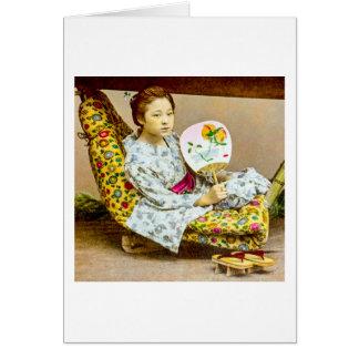 Vintage Geisha in a Norimono Litter Old Japan Card
