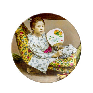 Vintage Geisha in a Norimono Litter Old Japan Plate