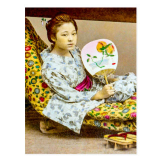 Vintage Geisha in a Norimono Litter Old Japan Postcard