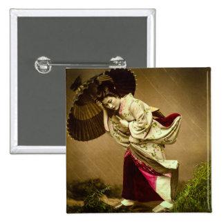 Vintage Geisha in a Springtime Rain Glass Slide 15 Cm Square Badge