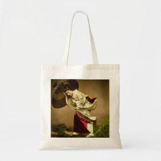 Vintage Geisha in a Springtime Rain Glass Slide Tote Bag
