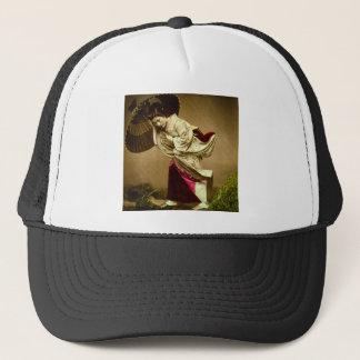 Vintage Geisha in a Springtime Rain Glass Slide Trucker Hat