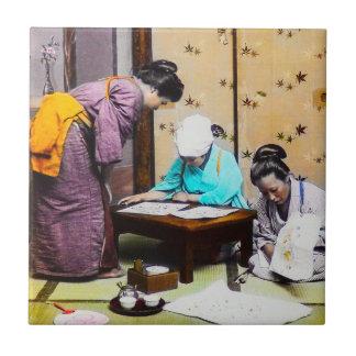 Vintage Geisha in Old Japan Reading Ceramic Tile